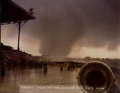 This is the F5 tornado that went through Omaha, NE, May, 1975.  This photo was taken looking West from Aksarben Race Track by the photographer who was there to take pictures of the finishes of the races.  The tornado was about 1/4 mile away from the track.    I was at home, in my basement, under an overturned couch (for protection - ha!) with my two sons (8 and 4) praying the tornado would not hit our home (which, thank God, it didn't.)