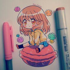 Chibi au feutres spécial manga! gourmande et kawaii! tout simplement -^^-