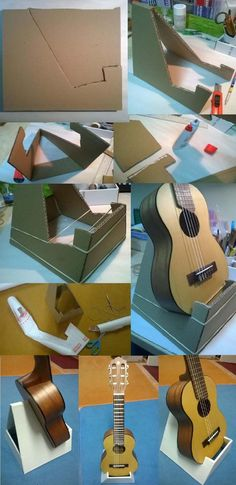This is my DIY Guitalele holder:(guitar+ukulele=guitalele) for my new Yamaha GL 1 Guitar Ukulele   you only need cardbaord, some glue, a knife and foil to cover.  And an Instrument ;-)