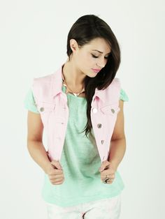 Can't decide if this weather calls for a jacket or just a tee? Meet in the middle with our Pink Sleeveless Denim Jacket £15.00