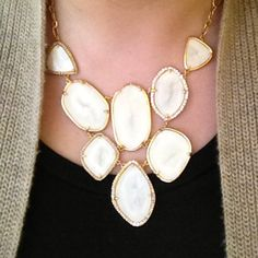 Love! Stella & Dot's Fiona Necklace with a black top and cardigan.