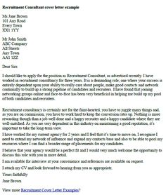 Recruitment Consultant Cover Letter Example