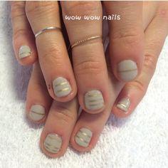 Chloe's nail design #birthdaynails #nailart #naildesign #nailsdid #notd #nailstripes #golddesign #goldlines #goldaccent #shellac #gelcolor #gelpolish #fashion #beauty #wowwownails #toronto