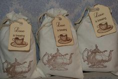 Tea Party  Favor Bags-Tea Party Favor Tags-Wedding Drawstring Gift Bags-Bridal Shower Favor Bags- Love is Brewing  Muslin Bags -Set of 30 on Etsy, $36.00