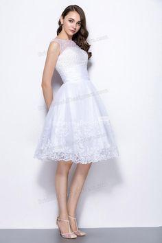 Illusion Neck Sleeveless Sequins Beaded Hemline Lace Short Organza Bridesmaid Dress