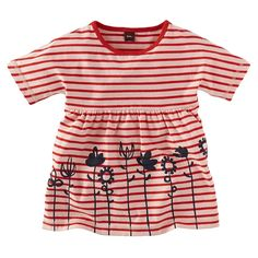 Let your little girl mix & match patterns with this striped top from Tea Collection. She'll love floral design on this cool T-shirt great for fall weather.