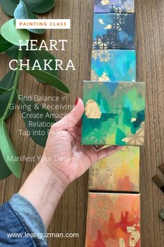 The Heart Chakra can be balanced and strengthened through art. Artist Leah Guzman guides you with techniques of meditation, journaling and a painting video to find balance in giving and receiving, create amazing relationships, tap into peace to manifest your desires. Learn more at www.leahguzman.com #chakras #meditation #painting