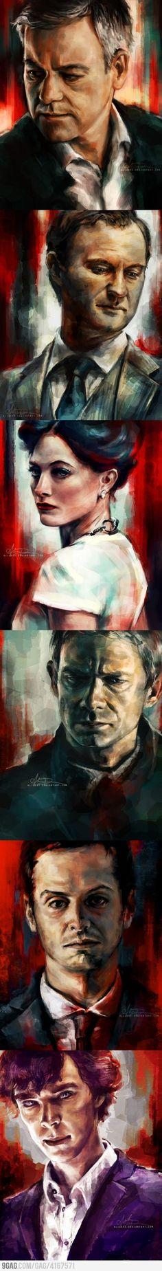 Wow... beautiful paintings of the Sherlock characters