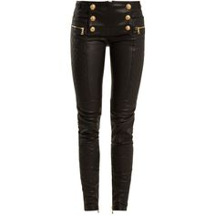 Balmain Military-button skinny-leg leather biker trousers ($2,752) ❤ liked on Polyvore featuring pants, black, shrug cardigan, leather skinny pants, bike pants, stretchy leather pants and leather biker pants