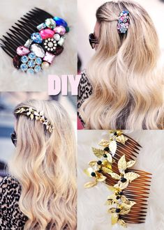 38 Creative DIY Hair Accessories - Bejeweled Hair Combs - Create Pretty Hairstyles for Women, Teens and Girls with These Eas… Diy Hairstyles, Pretty Hairstyles, Do It Yourself Schmuck, Diy Beauté, Diy Crafts, Easy Diy, Diy Fashion Projects, Diy Projects, Fashion Ideas