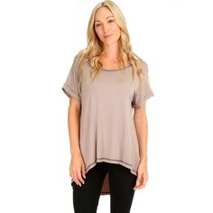 When paired with skinny jeans or leggings, this women's tee helps create a long silhouette with its unique high-low hemline