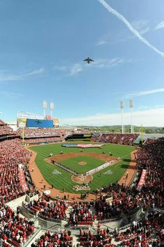A military salute flyover at Reds pregame festivities.