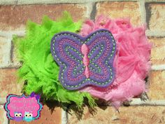 A personal favorite from my Etsy shop https://www.etsy.com/listing/229905453/green-and-pink-shabby-butterfly-hair-bow