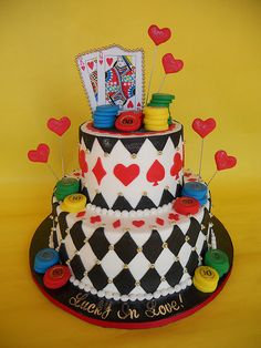 """Pinning because I like the phrase """"Lucky in Love"""" Casino Themed Engagement Party Cake"""