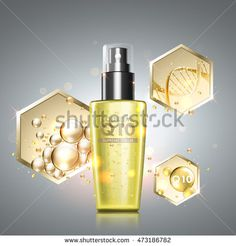 Gold oil serum skincare treatment. Honeycomb elements with precious oil, coenzyme Q10 and DNA helix across cosmetic bottle. Anti-aging treatment solution on premium background.