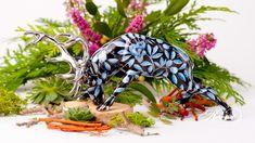 Deer is painted in Special (ZOBA-FN-PT) Blue + Black with Platinum design. Black Backgrounds, Deer, Dinosaur Stuffed Animal, Porcelain, Hand Painted, Pattern, Animals, Design, Porcelain Ceramics