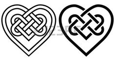 noeud marin: Entrelacement Heart in Celtic Knot. deux variantes Illustration
