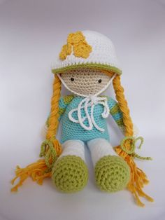 Crochet doll, girl  amigurumi, toy stuffed animal, children. €67.50, via Etsy.