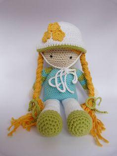 Crochet doll, girl  amigurumi, toy stuffed animal, children. €67.50, via Etsy.