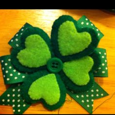 St. Patrick's Day hair bow, haven't decided if I am putting it on a clip or headband.
