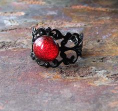 Black & Red Gothic Ring by KeyholeGallery