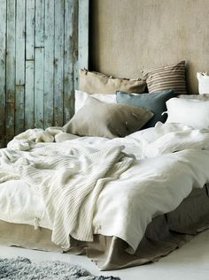 #design #interior #inspiration  [ Surf and sand...Beach House. Beautiful Bedding, Pillows & Textiles. So cozy & inviting! Love the pop of blue & taupe/tan against the white. ]
