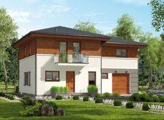 Palanka 2 Projekt domu mieszkalnego parterowego z poddaszem użytkowym.  Dom o nowoczesnym charakterze.