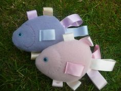 SALE  Taggie Baby Toy  Fish  pink/lilac by ScarlettsCrafts on Etsy, £5.00