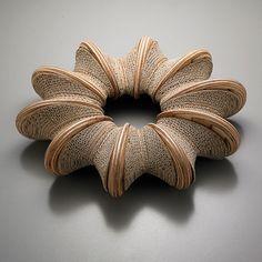 Bracelet by Korean art jeweler Choon Sun Moon. Cardboard! via Designers Party