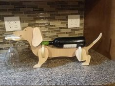 Dachshund wine glasses and bottle holder by CNCCreativeGifts Wood Wine Holder, Wine Glass Holder, Wine Bottle Holders, Wine Rack, Plywood Table, Oak Plywood, Oak Stain, Walnut Stain, Wine Stand