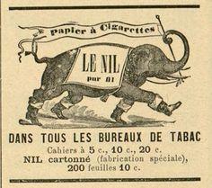 """La cigarette modèle réduit du cigare se répand en France tout au long du 19e s. Si les 1eres cigarettes sont roulées dans du papier d'origine espagnole dit papelito, des marques françaises émergent sur tout le territoire. Les frères Bardou se lancent dans la création de papier à rouler. Jean dépose la marque J.B. qui devient JOB et Joseph s'inspire de la mode """"égyptomanie"""" en France pour créer Le Nil. Il ira même en Egypte pour produire le tabac à la mode, dit tabac levantin #numelyo… Le Nil, Culture, Tobacco Shop"""