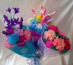 Three paper flower bunches