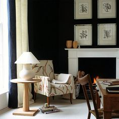 love the black walls...someday my hubby might go for it...for now I'm happy with my navy.