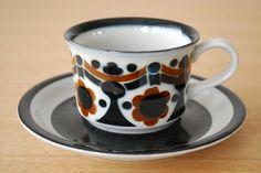 Kitchenware, Tableware, Vintage Ceramic, Earthenware, Scandinavian Design, Finland, Tea Cups, Pottery, Ceramics