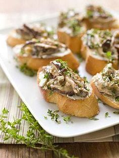 Shiitake Ragout and Chevre Crostini // These make a great appetizer for all your holiday entertaining.