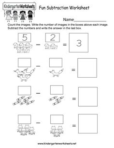 This is an image subtraction worksheet. Kids can practice counting and subtracting cute images in this free kindergarten worksheet.