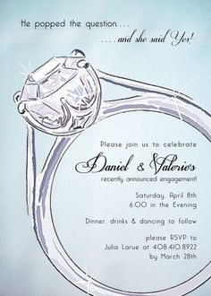 Custom Color Engagement Party Or Bridal Shower Invites! Includes Invitation  With Matching A 7  Engagement Invite Templates