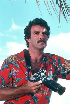 Magnum PI Tom Selleck. LOL., camera, zoom, great guy, tv series, dear memories, hunk, sexy, portrait, blue sky, photo.