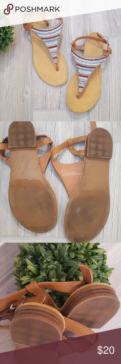 71d58a4b7f0 Beaded Thong Slingback Sandals EXCELENT condition! Worn a couple of times  only. Size says