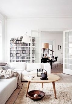 Simple, white living room