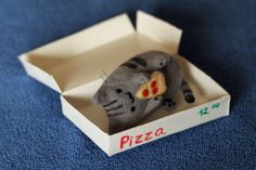 Felted Pusheen cat eating pizza by feltedtoys on Etsy, $29.00