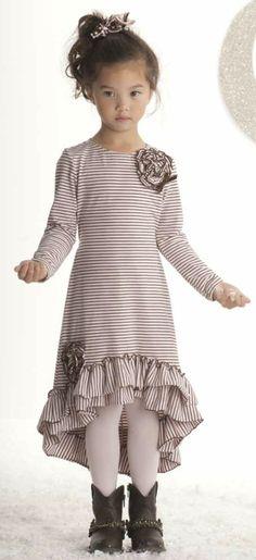 Kate Mack ``Confetti Hearts`` Precious High-Low Pink Stripe DressGoing Fast! Sizes 5-10