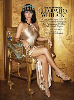 Kim Kardashian for Harpers Bazaar. ME: I love Cleopatra. Cleopatra is now rolling in her grave!-D & then there is Moses' mom. Kim Kardashian, Kardashian Fashion, Egyptian Beauty, Egyptian Goddess, Egyptian Makeup, Egyptian Mythology, Cleopatra Costume, Cleopatra Dress, Cleopatra Halloween