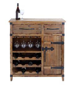 Woodland Import Wine Cabinet with Shelves, Racks & Utility Drawers