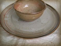 Handmade Wheel Thrown Pottery Plate and Dip Bowl Set by Fuzzy Mud Studio