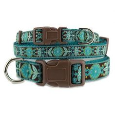 Teal Flower Dog Collar, Flower, Nature Dog Collars at The Artful Canine
