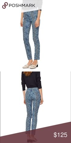 """Tory Navy Boa Print Slim Jean Chic boa snakeskin print in medium blue wash denim offers a fun alternative to the classic slim-cut jean. Perfect for lending a touch of interest to your staple sweaters and tops! Sold out everywhere. Item looks EXACTLY as pictured on model. Belt loops and zip fly with logo button closure. Five pocket styling. Rise about 8"""". Inseam {30"""".} Cotton and spandex blend. Tory Burch Jeans Skinny"""