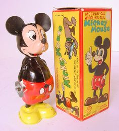 "1930s MARX LINEMAR DISNEY BOXED TIN WIND-UP MICKEY MOUSE TOY 5.5"" JAPAN"