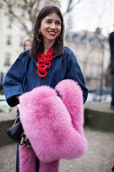 natasha_goldenberg_denim_top_denim_pencil_skirt_miu_miu_pink_fur_red_link_necklace