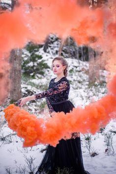 Winter smoke bomb photo shoot in Needle and Thread dress